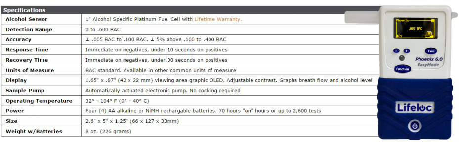 Phoenix 6.0 Breath Alcohol Device Specifications