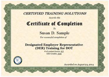 Designated Employer Representative Online Training Certificate