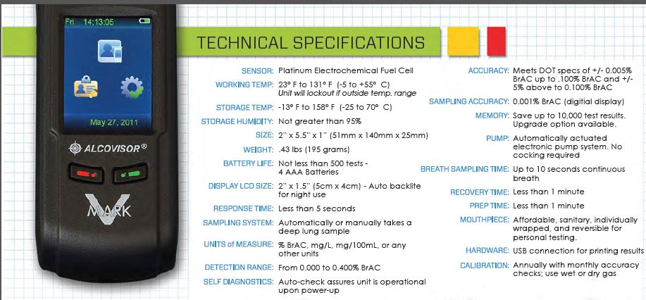 Mark V Alcovisor Evidential Breath Testing Device Specifications