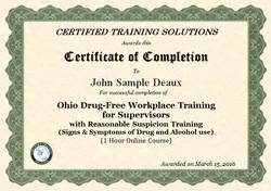 Ohio Drug Free workplace training certificate Ohio DFSP training online certificate of completion