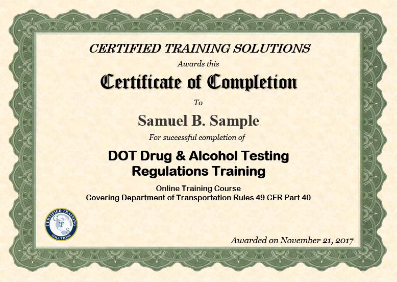 DOT Drug and Alcohol Testing Regutions Certificate