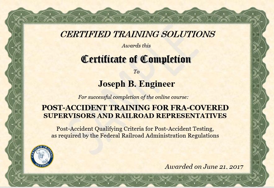 FRA Post Accident Training Certificate Sample